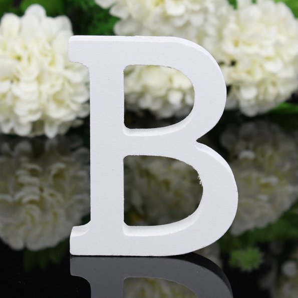 1pcs Wooden Letter Alphabet Word Wood White English Letters For Kids Boy Girls Baby Shower Happy Birthday Wedding Decor Supplies