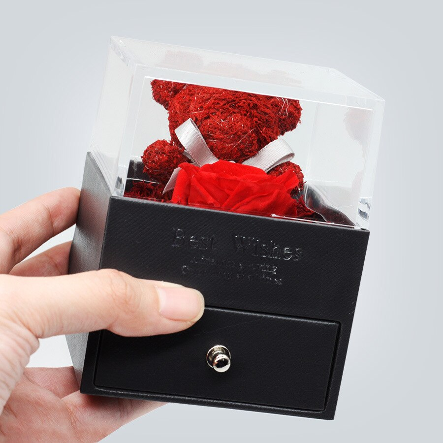 2020 Preserved Unfade Rose Jewelry Box Holder Immortal Flowers Forever Blossom Wedding Birthday Gift Set For Mother Girlfriend