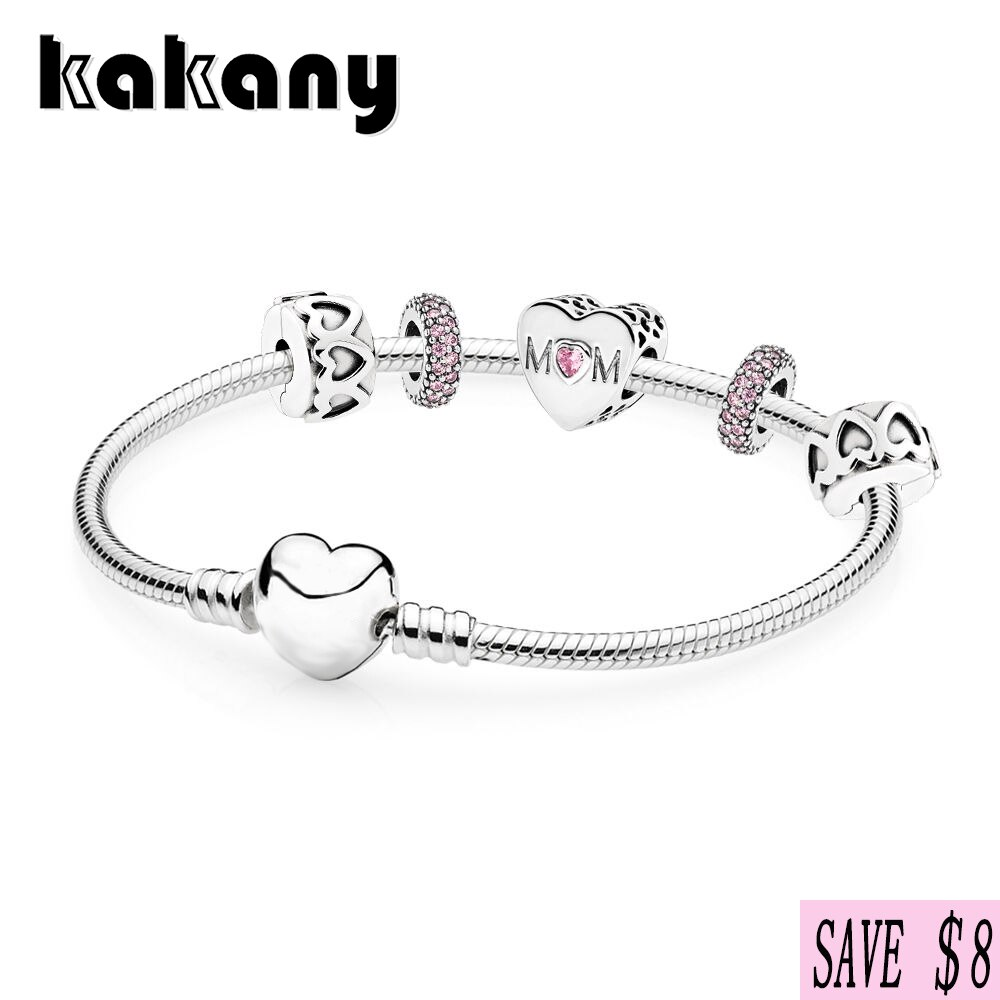 KAKANY 925 sterling silver MOTHER HEART BRACELET GIFT SET Mother's Day gift Original personality with women's fashion jewelry