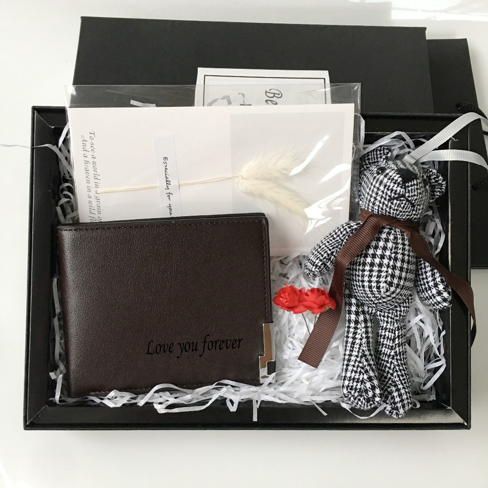 Custom name Father Groom Groomsman Boyfriend gifts Pu Leather Wallet set gift for men birthday