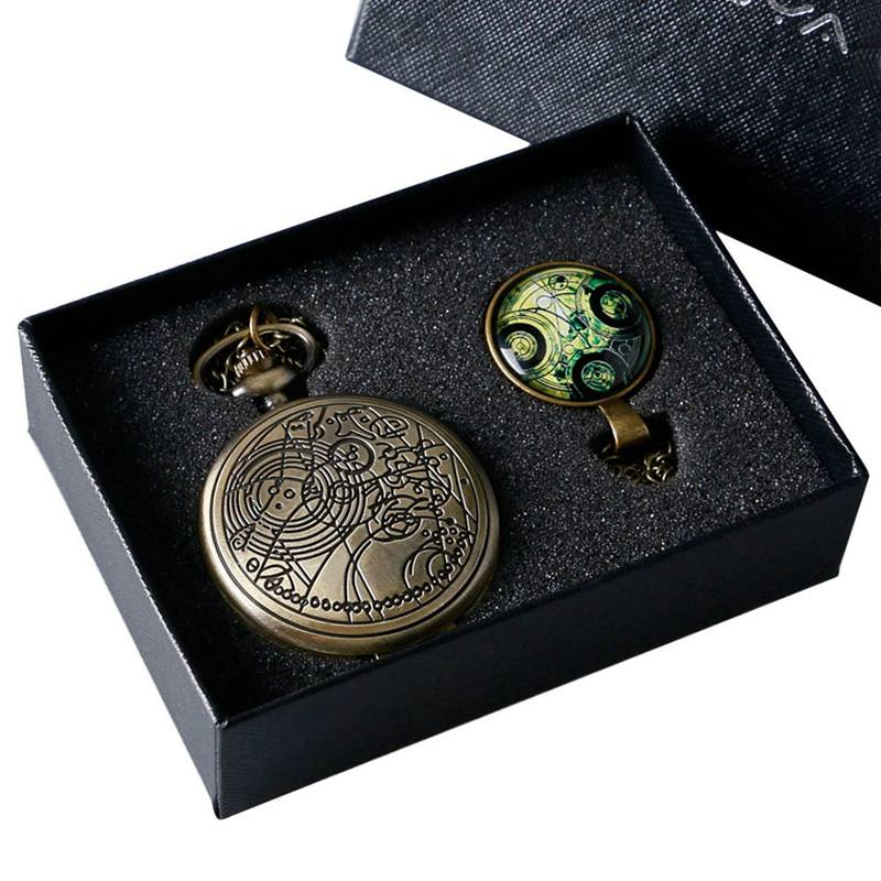 Retro Doctor Who Time Lord Seal Quartz Pocket Watch with Dr. Who Symbols Glass Dome Pendant Necklace Chain Box DAD Top Gifts Set