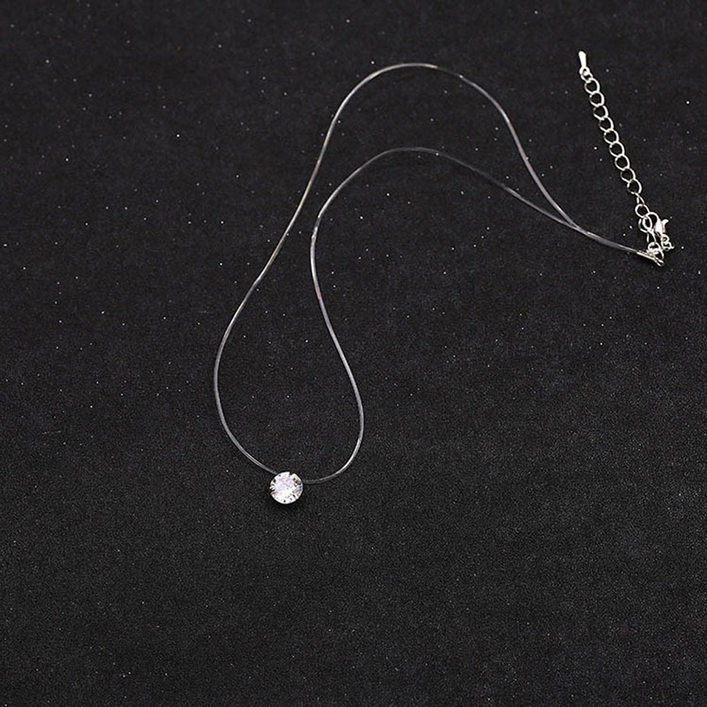 SUMENG New Personality Fashion Square Imitation Pearl Crystal Zircon Necklace Invisible Transparent Fishing Line Necklace Women