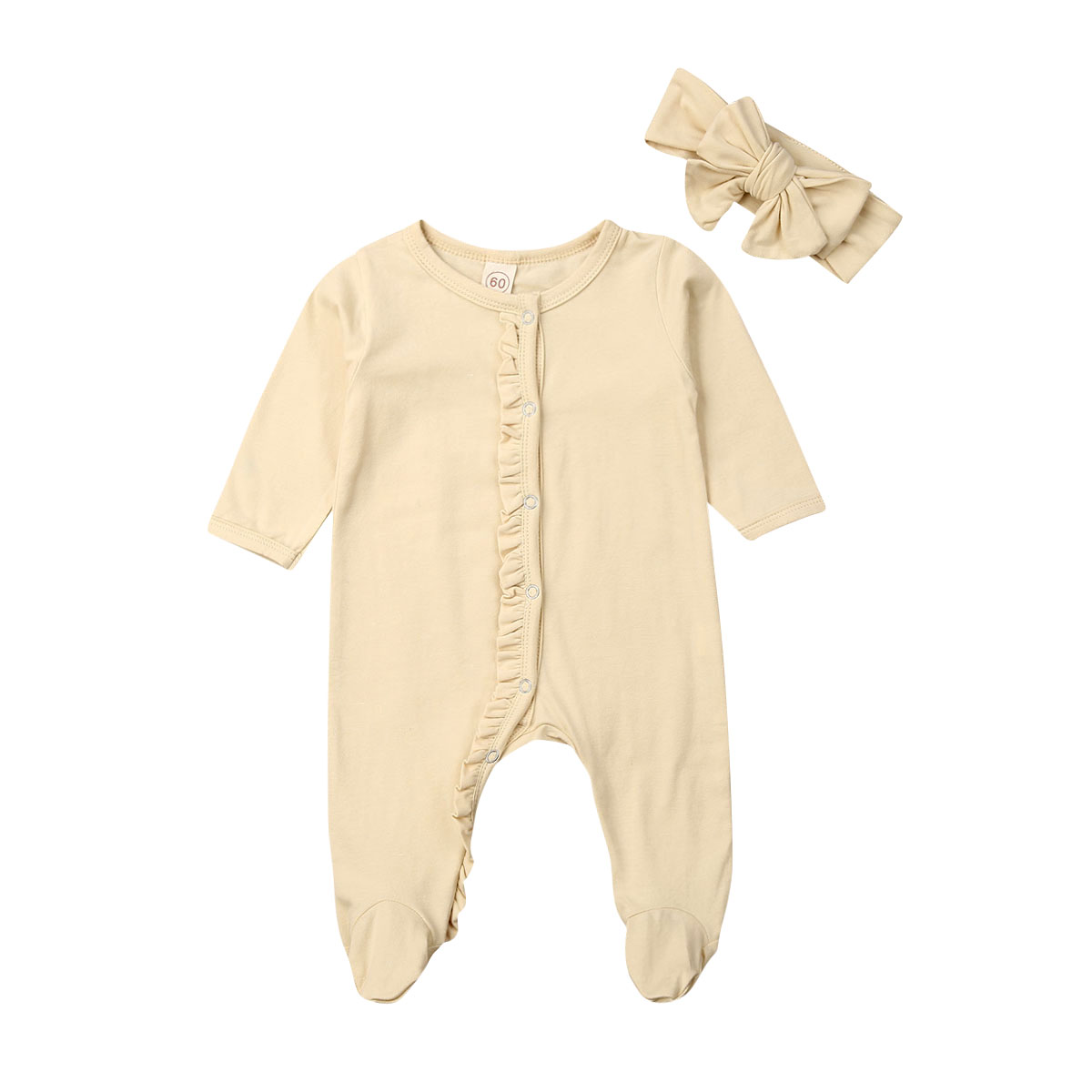 CANIS 2PCS Newborn Baby Girl Boy Cotton Long Sleeve Button Ruffles Solid Color Romper Headband Pyjamas Outfits Clothes