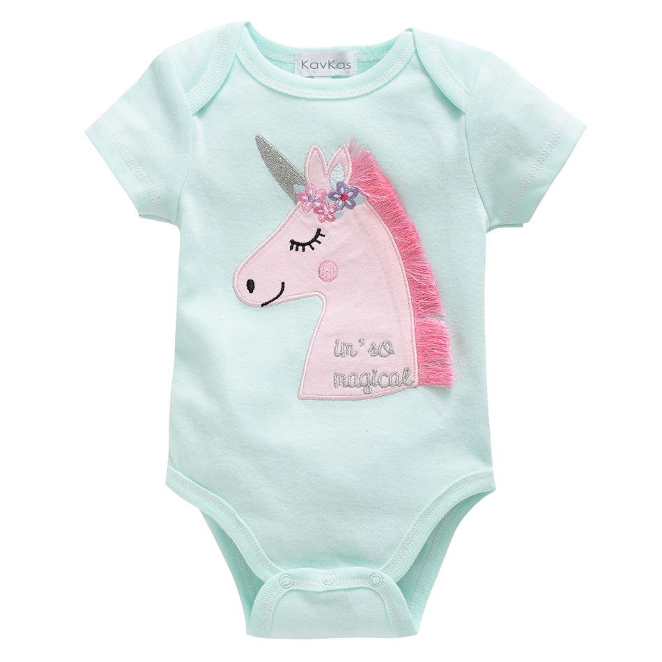 2019 New Kavkas Newborn Baby Girls Footies Boys Clothes Babies Footie Long Sleeve 100%cotton printing Infant Clothes 0-12 Months