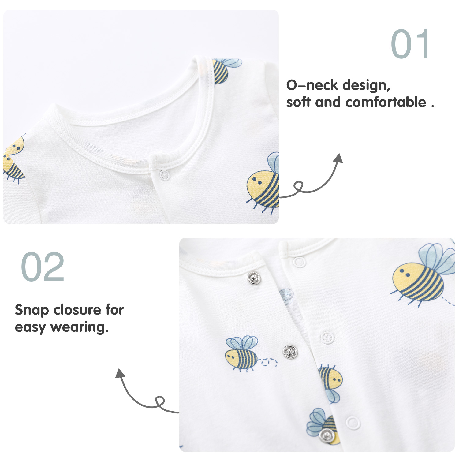 Pureborn 2-Pack Newborn Unisex Baby Romper Cartoon Bees Baby Boy Girl Short Sleeve Baby Clothes Cotton Summer Pajamas Outfit