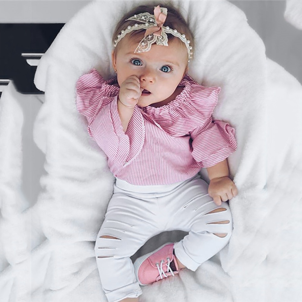 Add color Toddler Baby Overalls Baby Girl Clothes Striped Tops Romper Ripped Pants Outfits Clothing Set roupas infantis menina