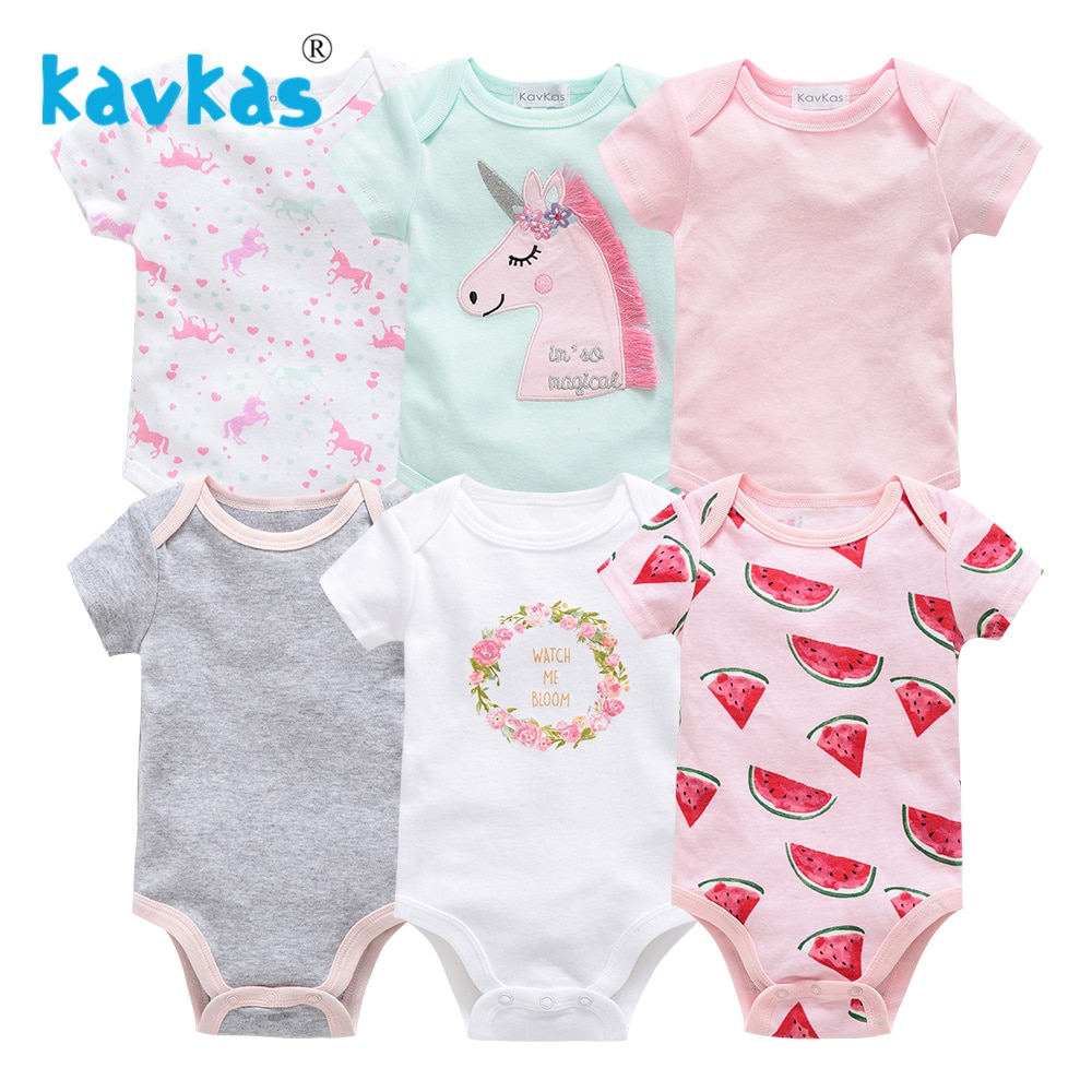 Kavkas Newborn Gown Baby Girl Sleepers Clothes Outfit 6pcs/set Short Sleeve Summer Baby Pajamas Sleepwear pyjama bebes nouveau