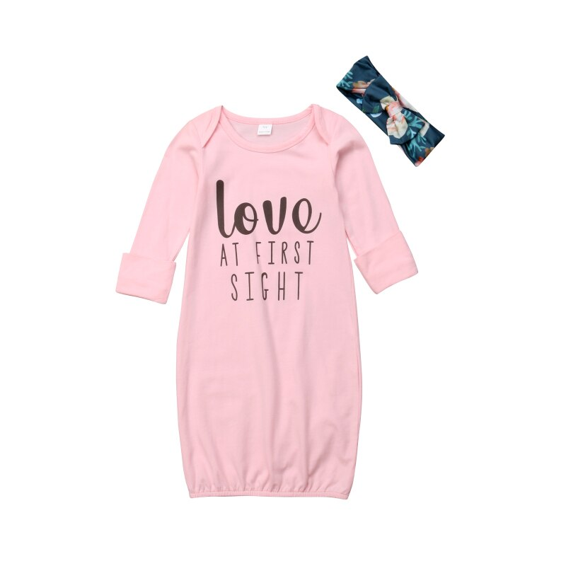Baby Girl Sleepwear Toddler Newborn Infant Sleeping Gown Swaddle Round Neck Pajamas Letter Headband Outfits Pink