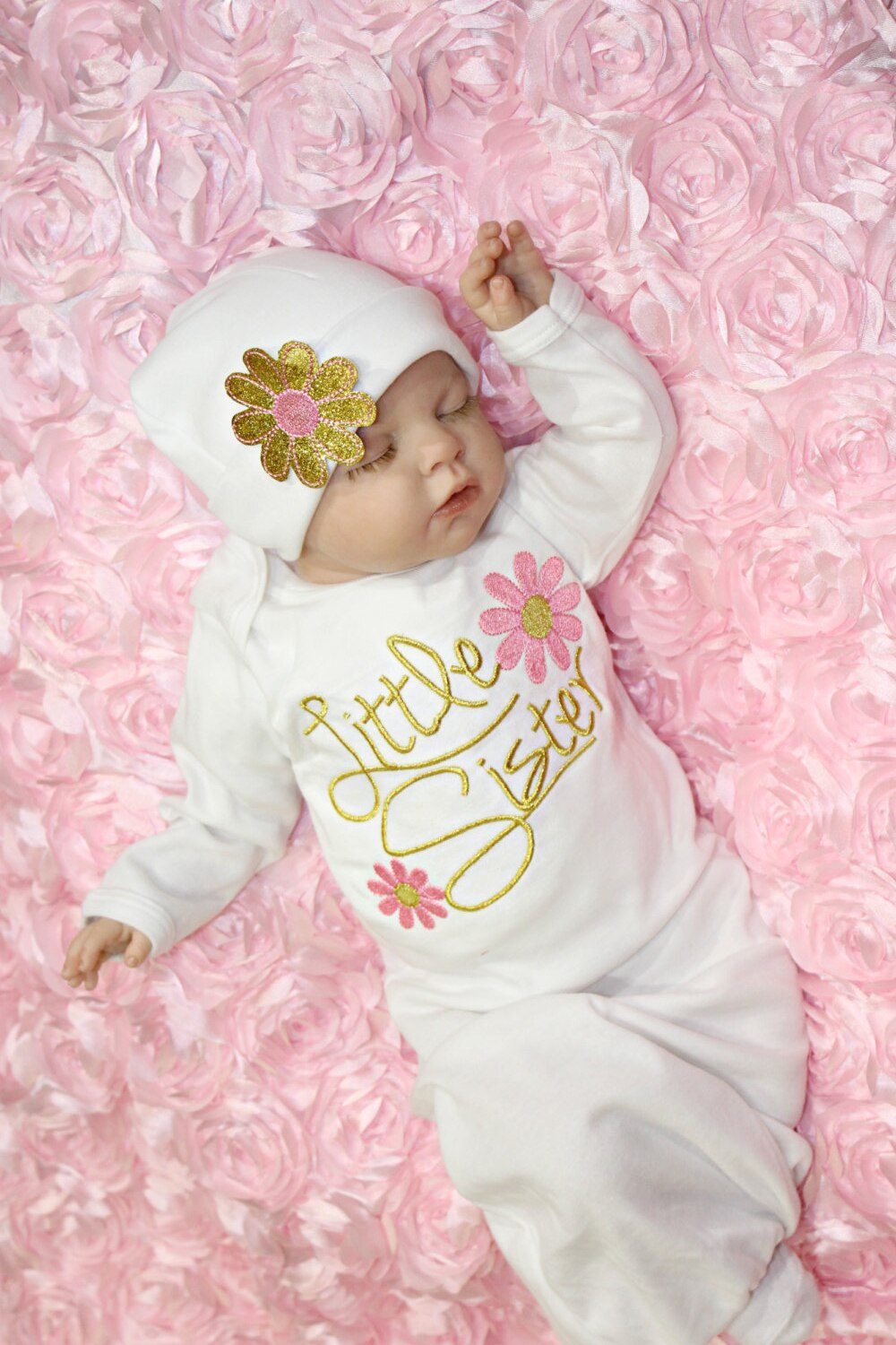 Cute Newborn Baby Girl Little Sister Floral Swaddle Wrap Swaddling Blanket Sleeping Bag Gown Hat 2PCS Baby Clothes 0-6M