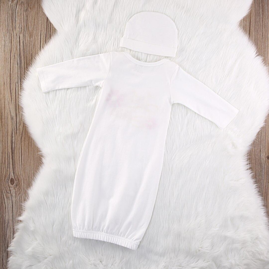 2019 US Newborn Baby Girls Long Sleeve Sleepwear Dress Nightwear Nightgown Hat Gown