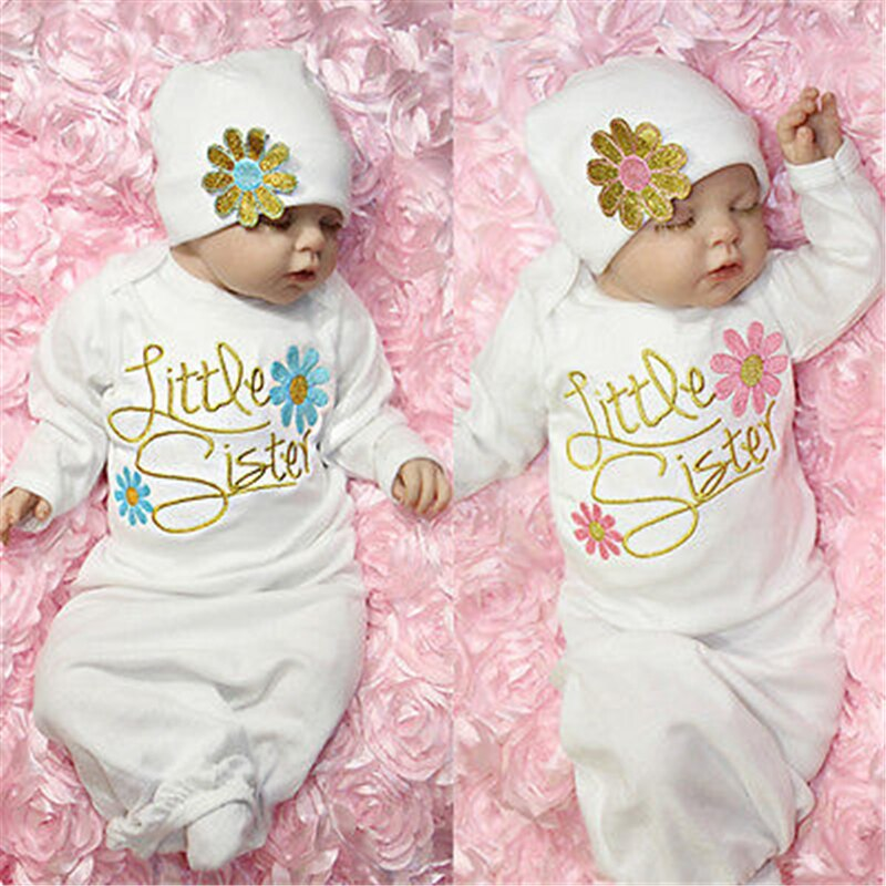 Christmas Little Sister Baby Girl Newborn Baby Take Home 2017 New Arrival Fashion Baby Clothes Outfit Baby Gown Hat Set Age 0-6M