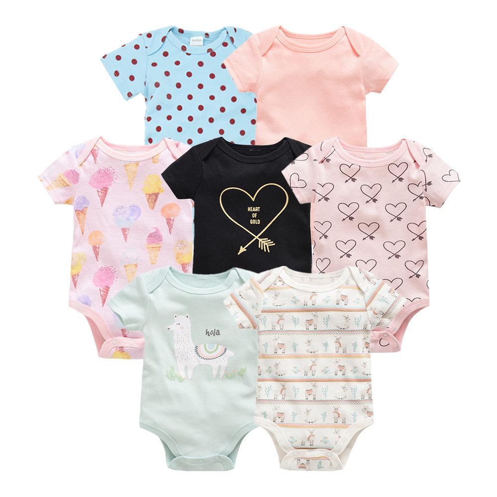 2019 7PCS/lot baby girl boys footies jumpsuit roupas de bebe recien nacido baby girl ropa 3 6 9 12 months newborn baby clothes