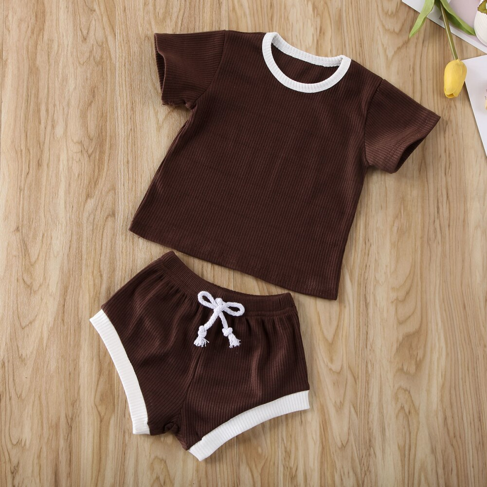 2Pcs Fashion New Summer Newborn Baby Girls Boys Clothes Cotton Casual Short Sleeve Tops T-shirt+Shorts Toddler Infant Outfit Set