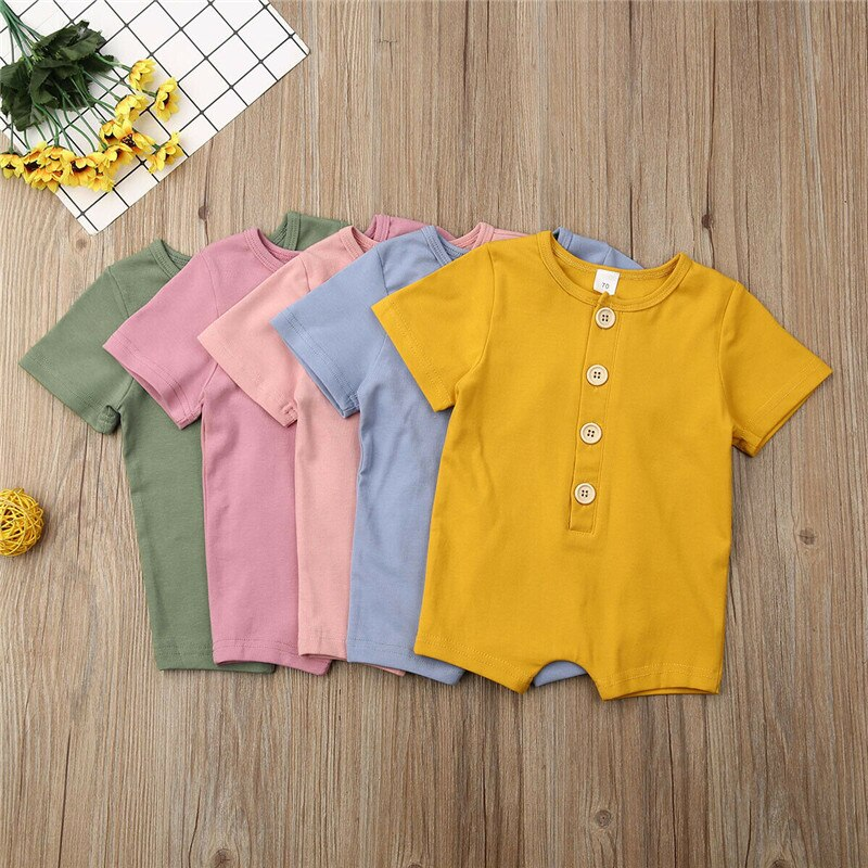 2020 New Summer Baby Rompers Short Sleeve Cotton O-Neck Rompers 0-18M Cute Newborn Boys Girls Roupas de bebe Baby Clothes