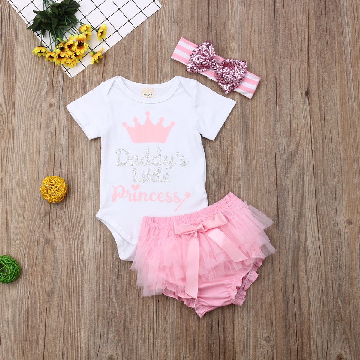 Newborn Set 2020 Baby Girl Romper Tops Bodysuits Tutu Pants Headband Outfits Clothes Set Baby Summer Body Suits Clothing