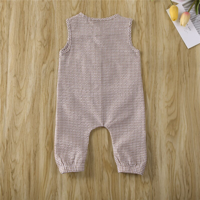 Newborn Baby Girl Boy Clothes 2020 New Brand Summer Sleeveless Plaids Romper Baby Girl Boy Cotton Soft Jumpsuit Overall Outfits
