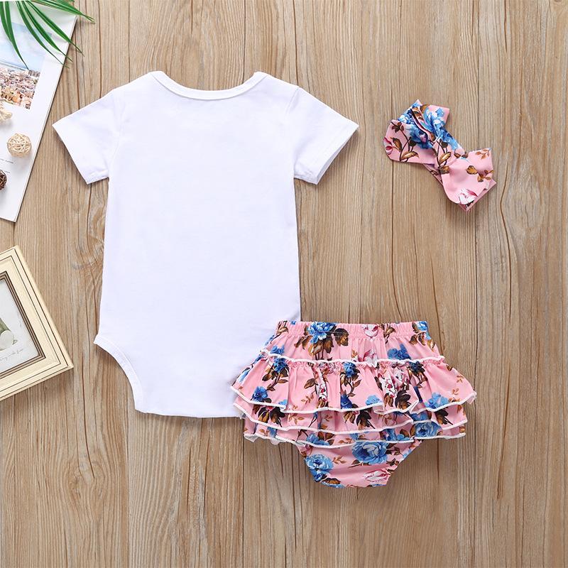 3Pcs Newborn Baby Girls Outfits 2020 Fashion Print Rompers Bow Shorts Headband Suits Sweet Kids Cartoon Clothes Set Minnie 0-24M