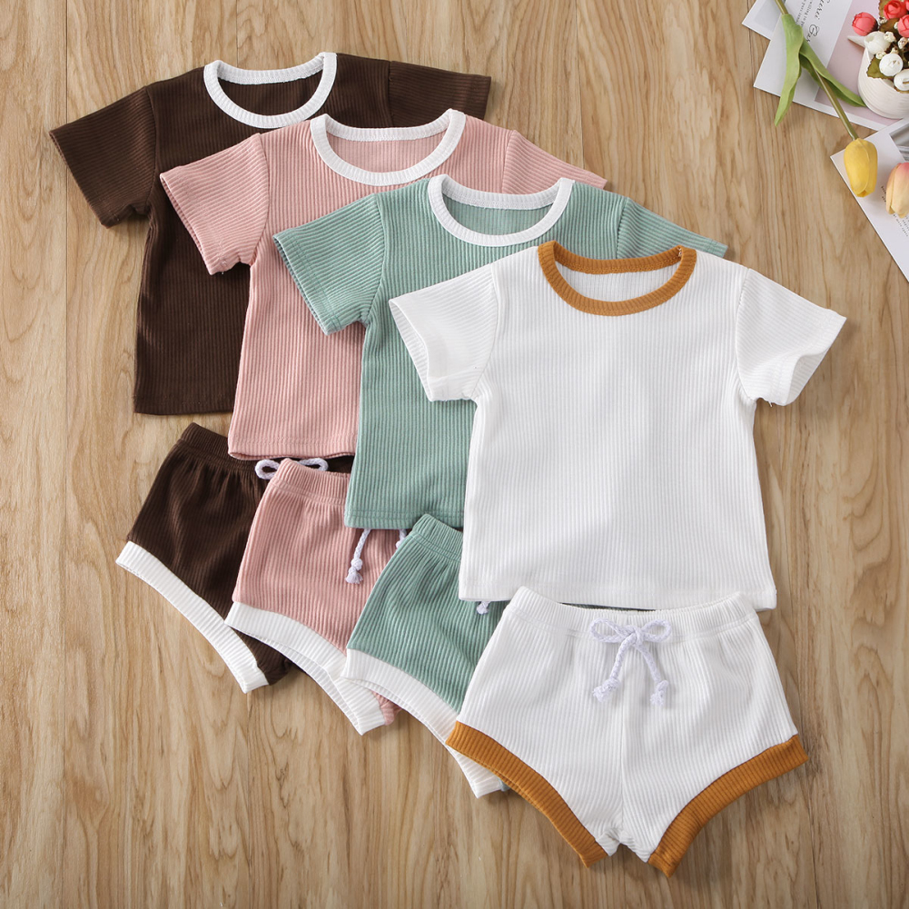 Imcute 2020 Newborn Infant Baby Girl Boy Clothes Short Sleeve Tops T-shirt Shorts Outfits Solid White Border Set 0-30M