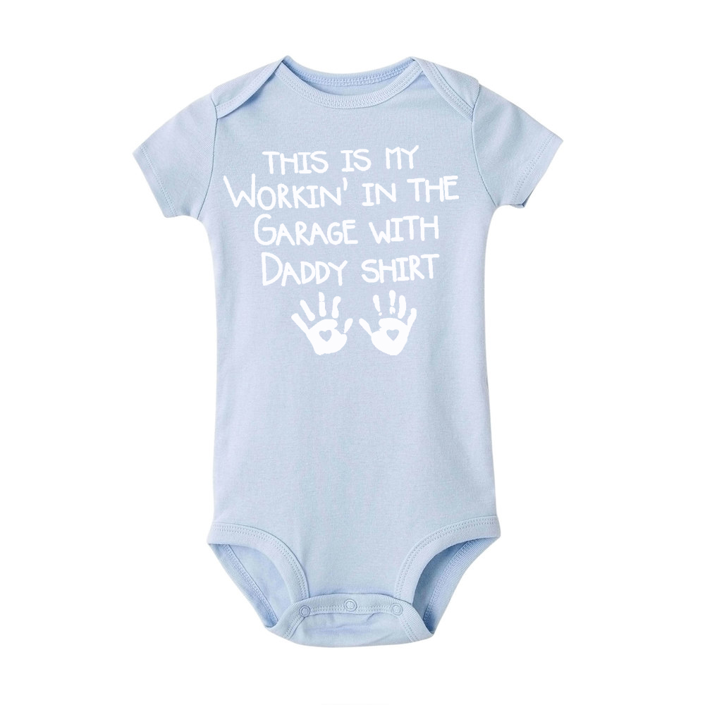 2020 This Is My Workin' In The Garage with Daddy Newborn Baby Boy Girl Romper Shirt Summer Short Sleeve Jumpsuit Clothes Wear