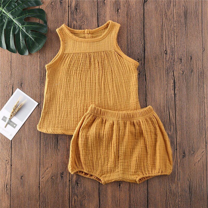 Newborn Clothing 2020 Summer Baby Boy Girls Clothes Cotton Linen Solid Sleeveless Tshirts Shorts Outfits Pudcoco 0-24M