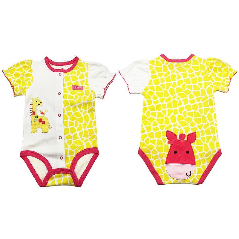 Newborn Baby Boys Girls Summer Clothes 2020 New Cotton Baby Bodysuits Short Sleeve body Baby cartoon printed Unisex jumpsuit