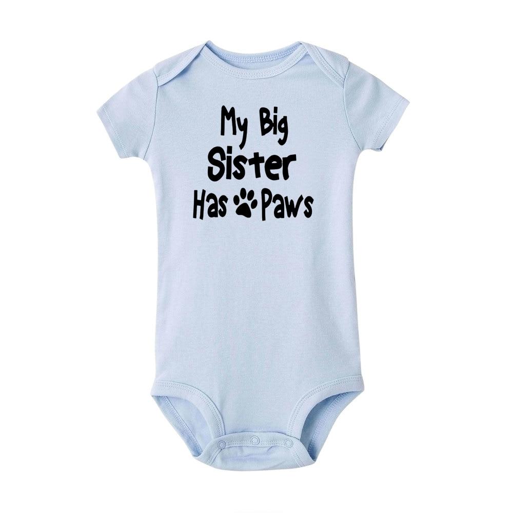 My Big Sister Has Paws 2020 Newborn Baby Toddler Girls Clothes Boys Bodysuit Playsuit Cotton Jumpsuit Sunsuit Clothes
