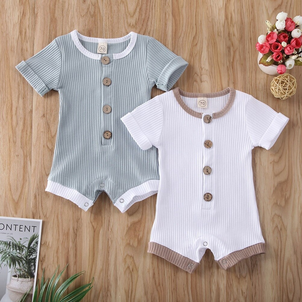 2020 New Summer Newborn Infant Baby Boys Girls Clothes Rompers Jumpsuit Soft Cotton Stripe Short Sleeve Toddler Kids Outfit