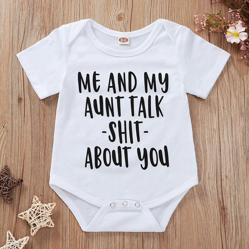 2020 Tiny Cottons White Onesie My Aunt Funny Letters Print Baby Boy Girl Bodysuits Short Sleeve Newborn Onesie Summer Clothes