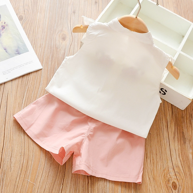 2020 New Cotton Girls Clothing Sets Summer Vest Two Piece Sleeveless Children Sets Fashion Girls Clothes Suit Casual Dot Outfits
