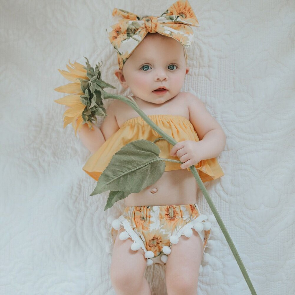 2020 Summer Newborn Baby Girls Clothes Sets Off Shoulder Tops+Floral Shorts+Headband 3PCS Toddler Outfits Set Sunflower Clothes