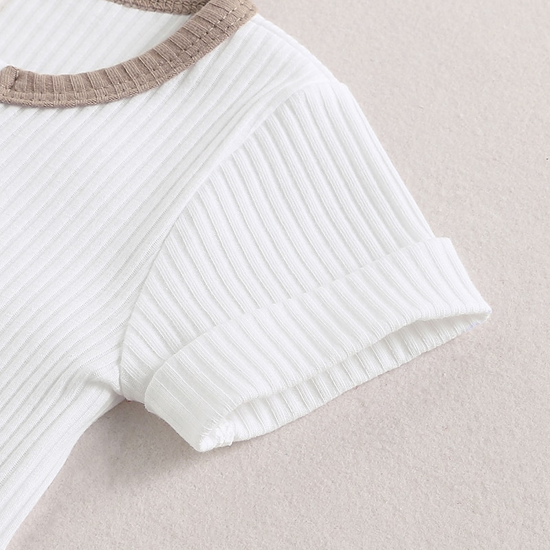 HITOMAGIC 2020 New Baby Summer Clothing Newborn Infant Baby Girls Boys Clothes Ribbed Romper Jumpsuit Short Sleeve Patchwork