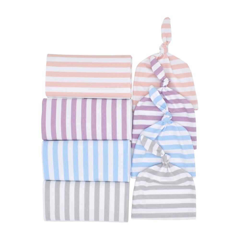 2Pcs/Set Striped Swaddle Baby Wraped Blanket Knot Beanie Newborn Infant Photo Prop