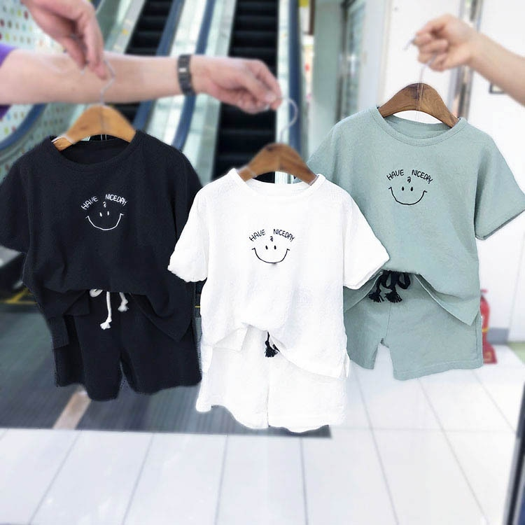 2020 New Infant Kids Baby Boy Girl Clothes Cotton Linen T-shirts Tops + Shorts Pants 2pcs Outfits Summer Newborn Clothes Set