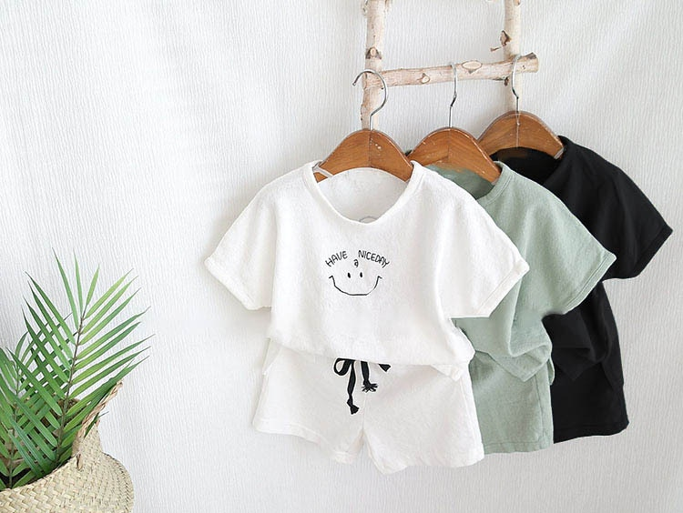 2020 New Infant Kids Baby Boy Girl Clothes Cotton Linen T-shirts Tops + Shorts Pants 2pcs Outfits Summer Newborn Clothes Set