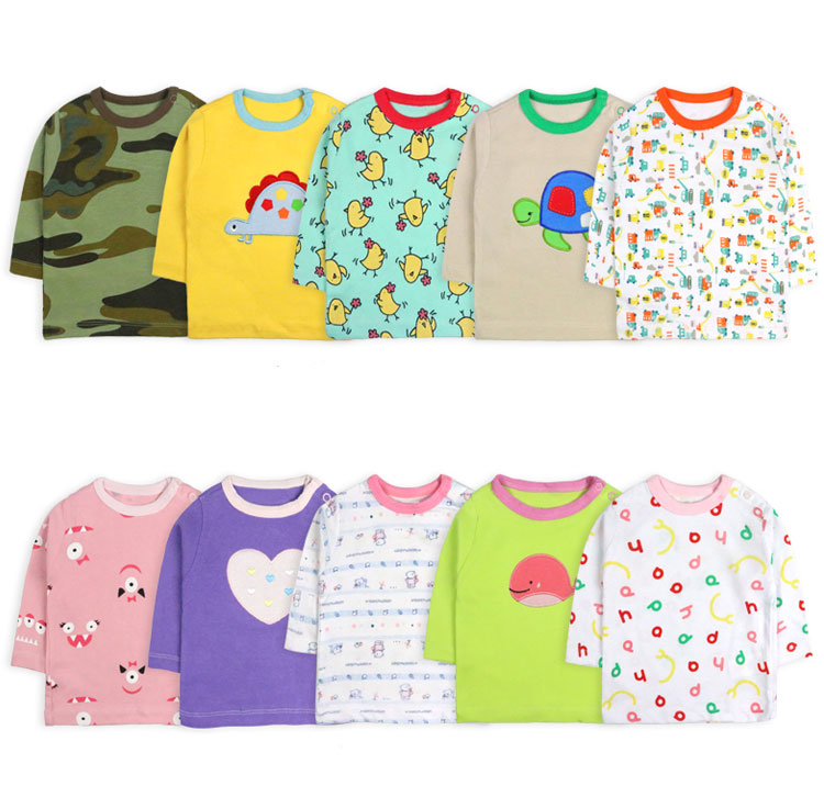 [5 Pcs/Lot Random Color]Baby Boy Girl Long Sleeve T-shirt Cartoon Print Baby T-Shirt O-Neck Infant Tops Cotton Newborn Clothes