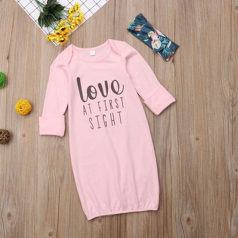 Newborn Infant Baby Girl Sleeping Gown Swaddle Pajamas Pink Sleeping Bag + Print Headband Home Outfits