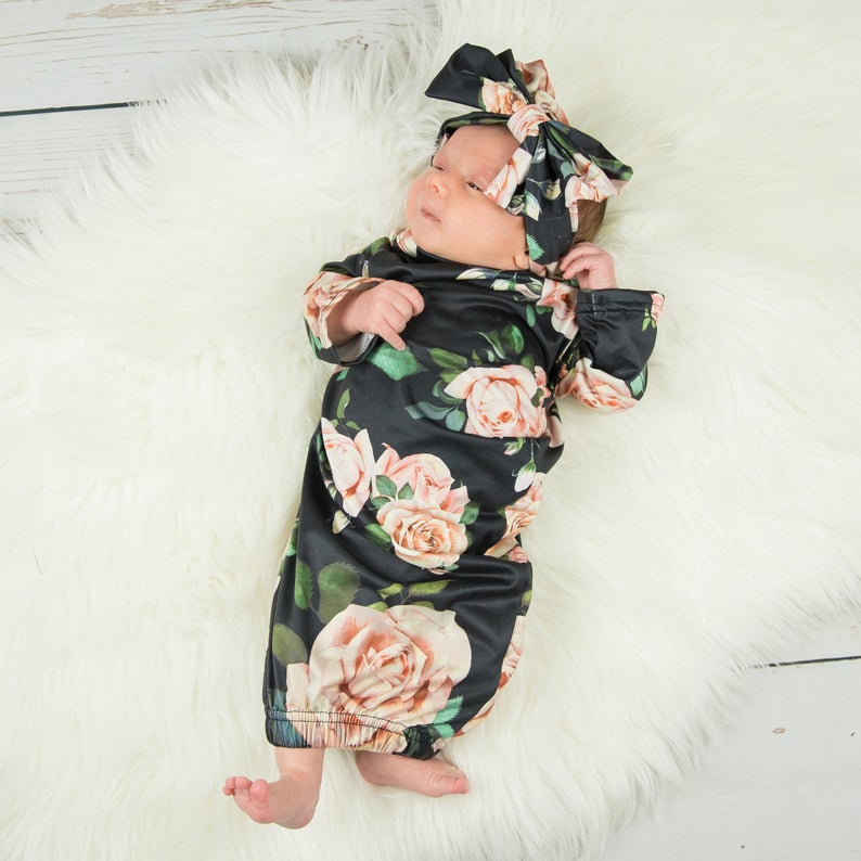 Newborn Infant Baby Cotton Swaddle Blanket Wrap Gown Floral Long Sleeve Sleeping Bag 0-9M