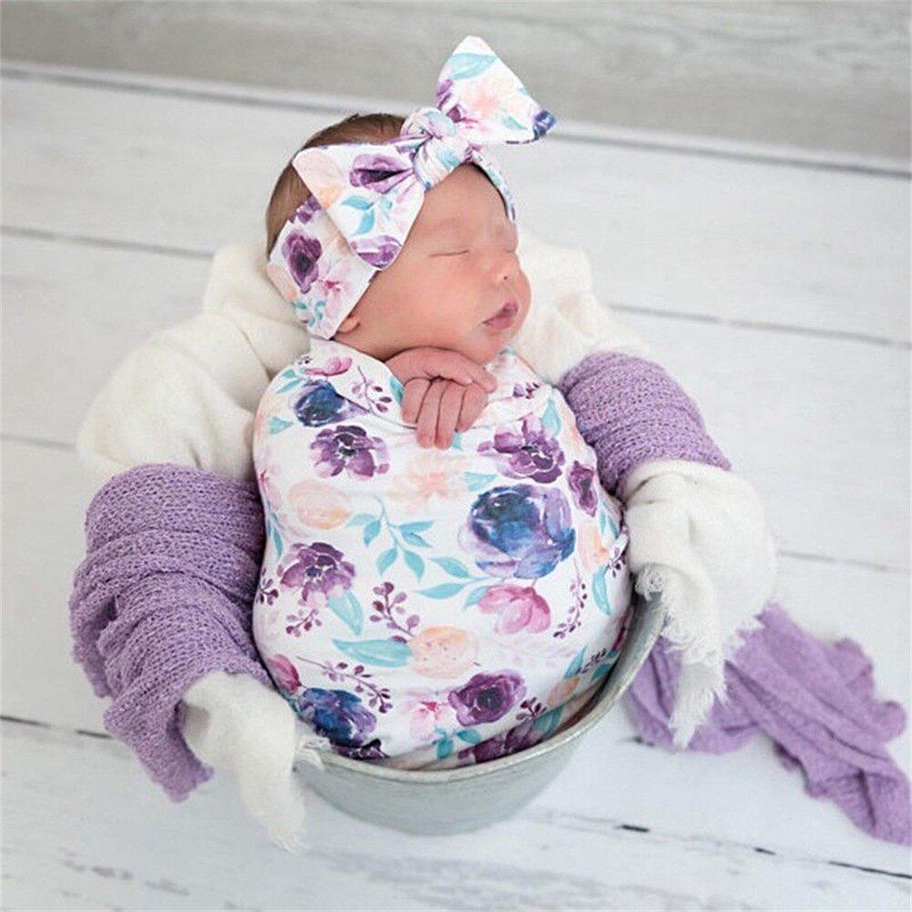 Floral Blanket Pink Baby Girl Swaddle Set Headband Sleeping Sack Bag Gown Newborn Toddler Boy Unisex 0-12 M Winter Clothes