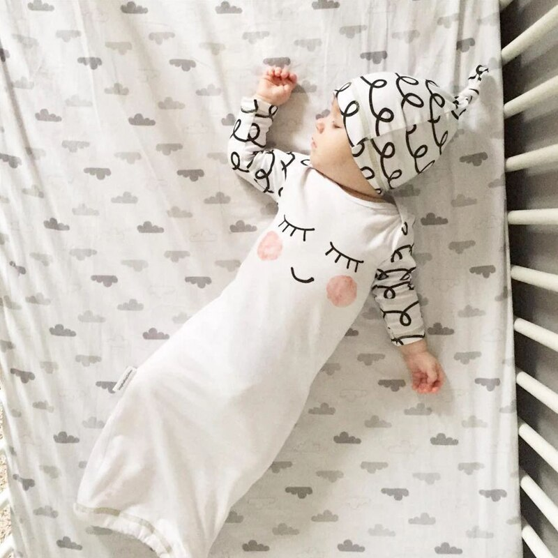 Cute Newborn Infant Baby Girls Eyes Rosy Cheeks Sleeping Bags Rompers Hats Sets Clothes Outfit Baby Gown Hat 2pcs Clothing